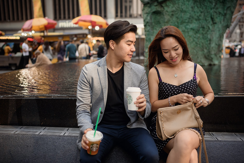Drinking Starbucks during post-wedding portrait session