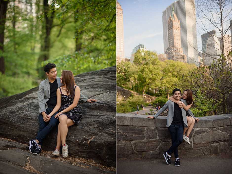 Central Park engagement post-wedding photography of Clare and Josh in Central Park
