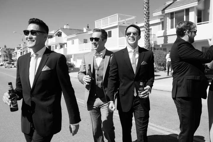 Black and white groom and groomsmen