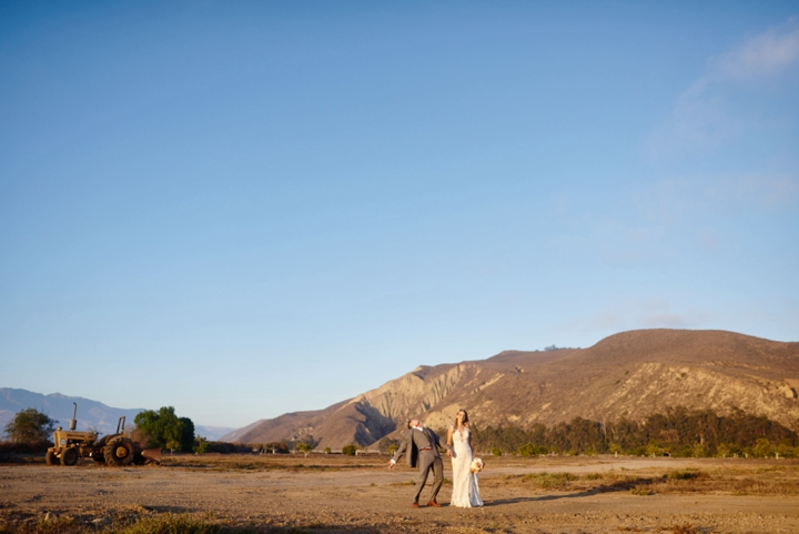 Sunset wedding photos in California ranch wedding