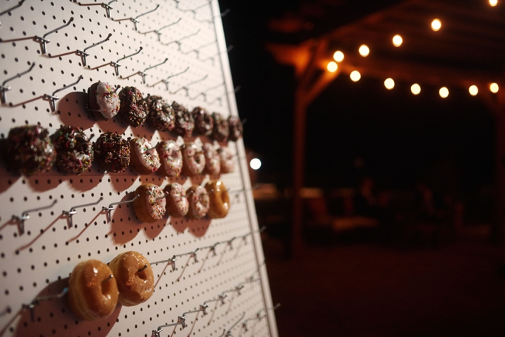 Doughnut pinboard at wedding