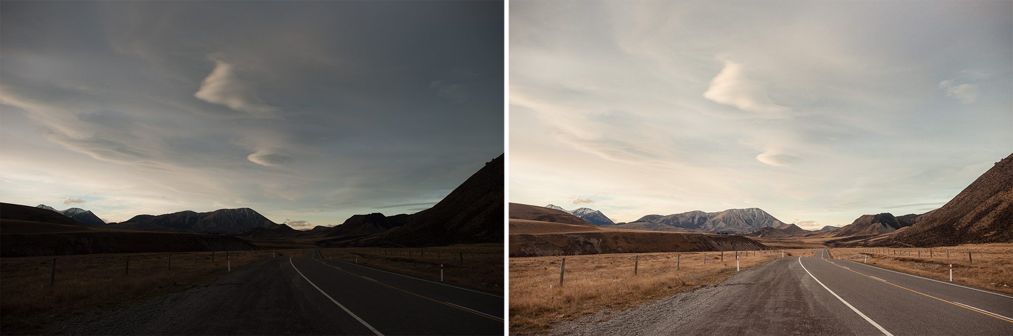 Before-and-after example of colour grading, all done in Lightroom.