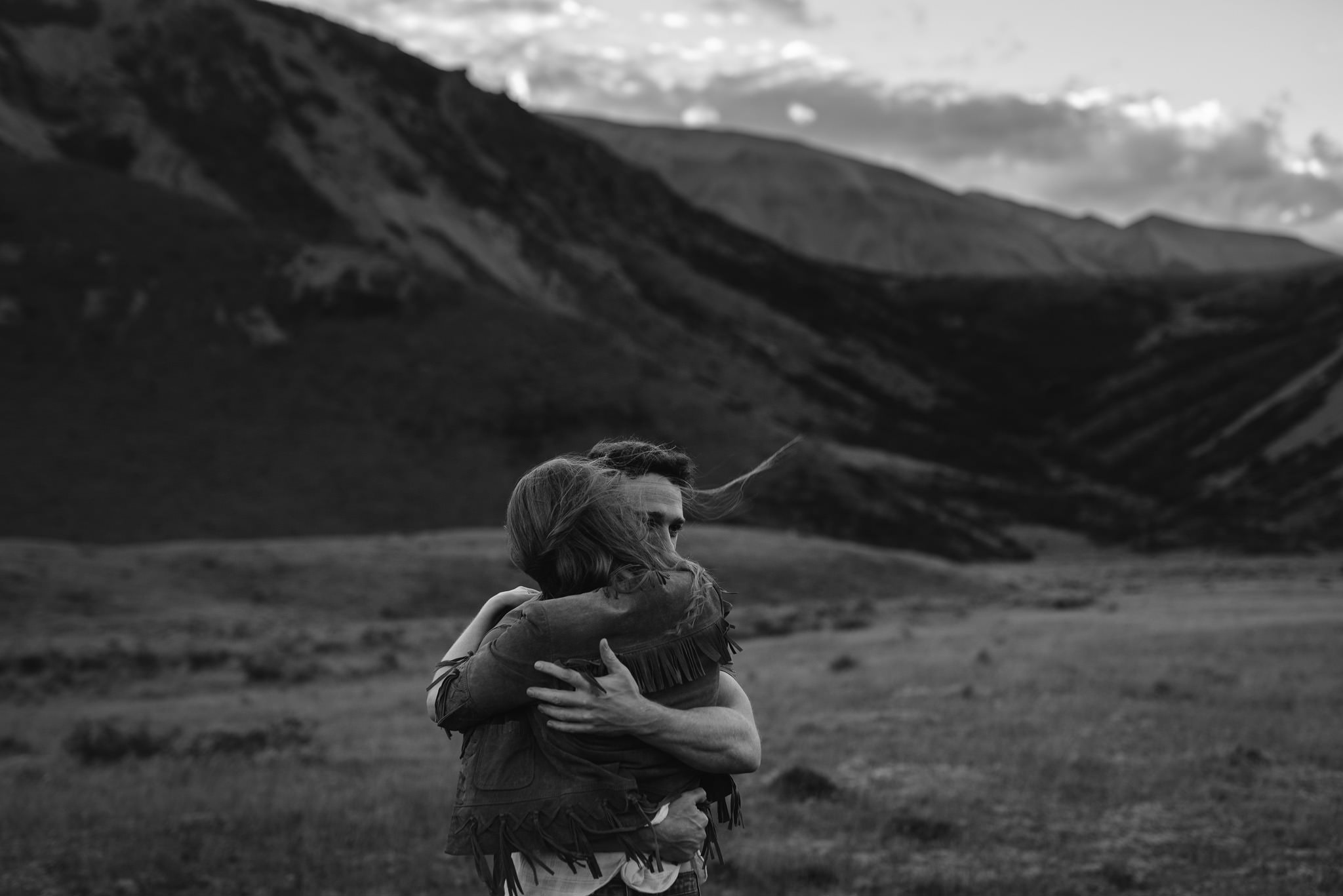 Couple in New Zealand high country during April