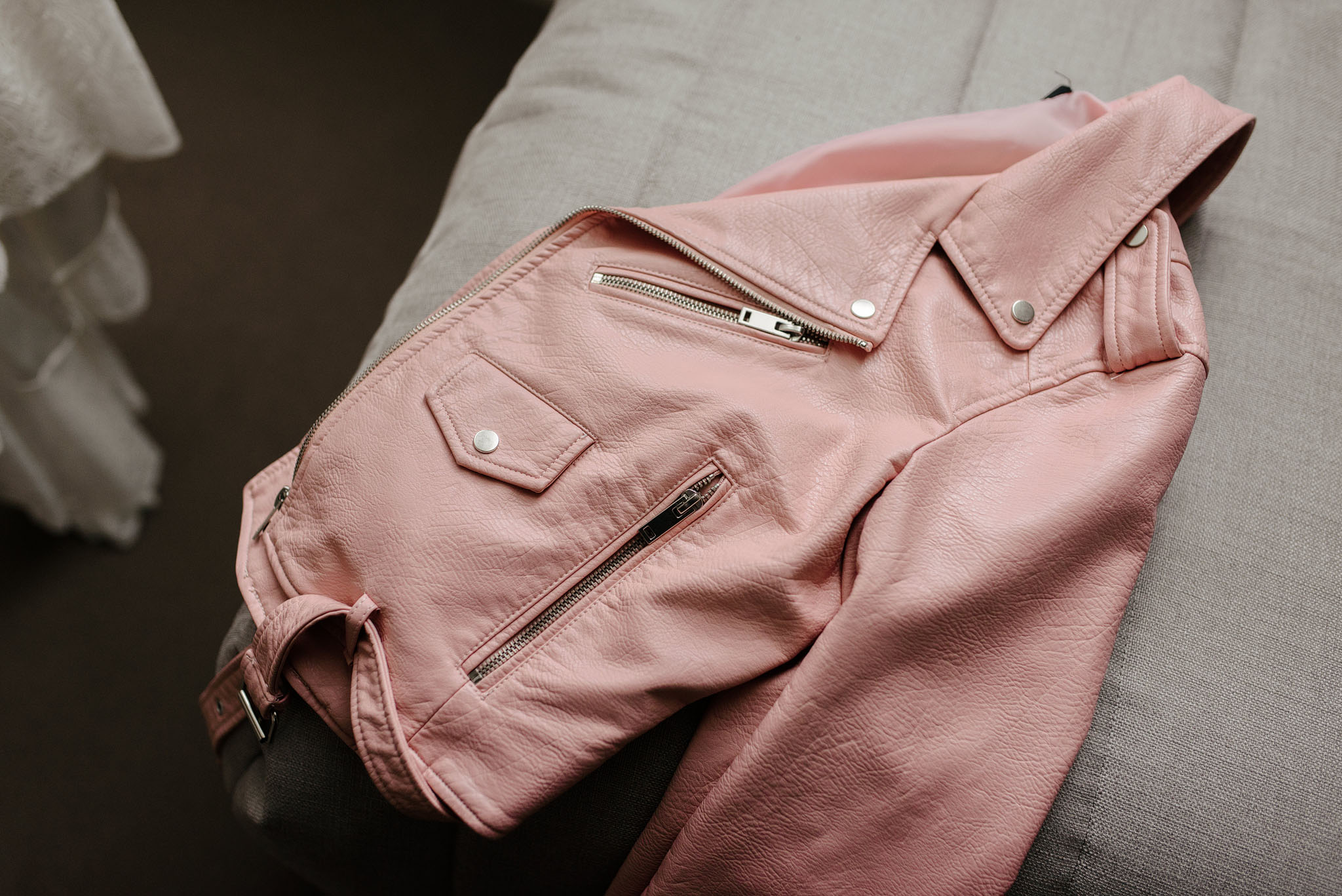 Pink Zara leather jacket for wedding in Christchurch New Zealand