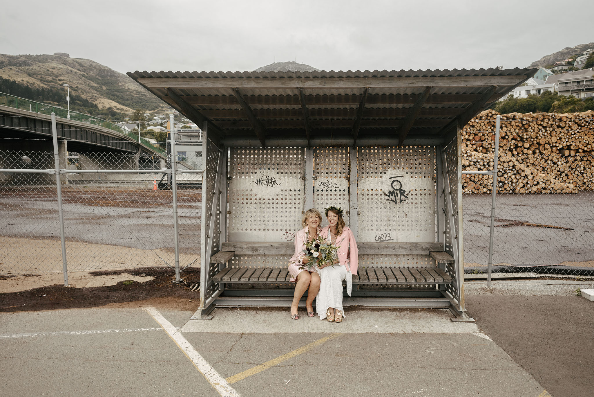 Bride and mother in Lytteton harbour before Quail Island wedding