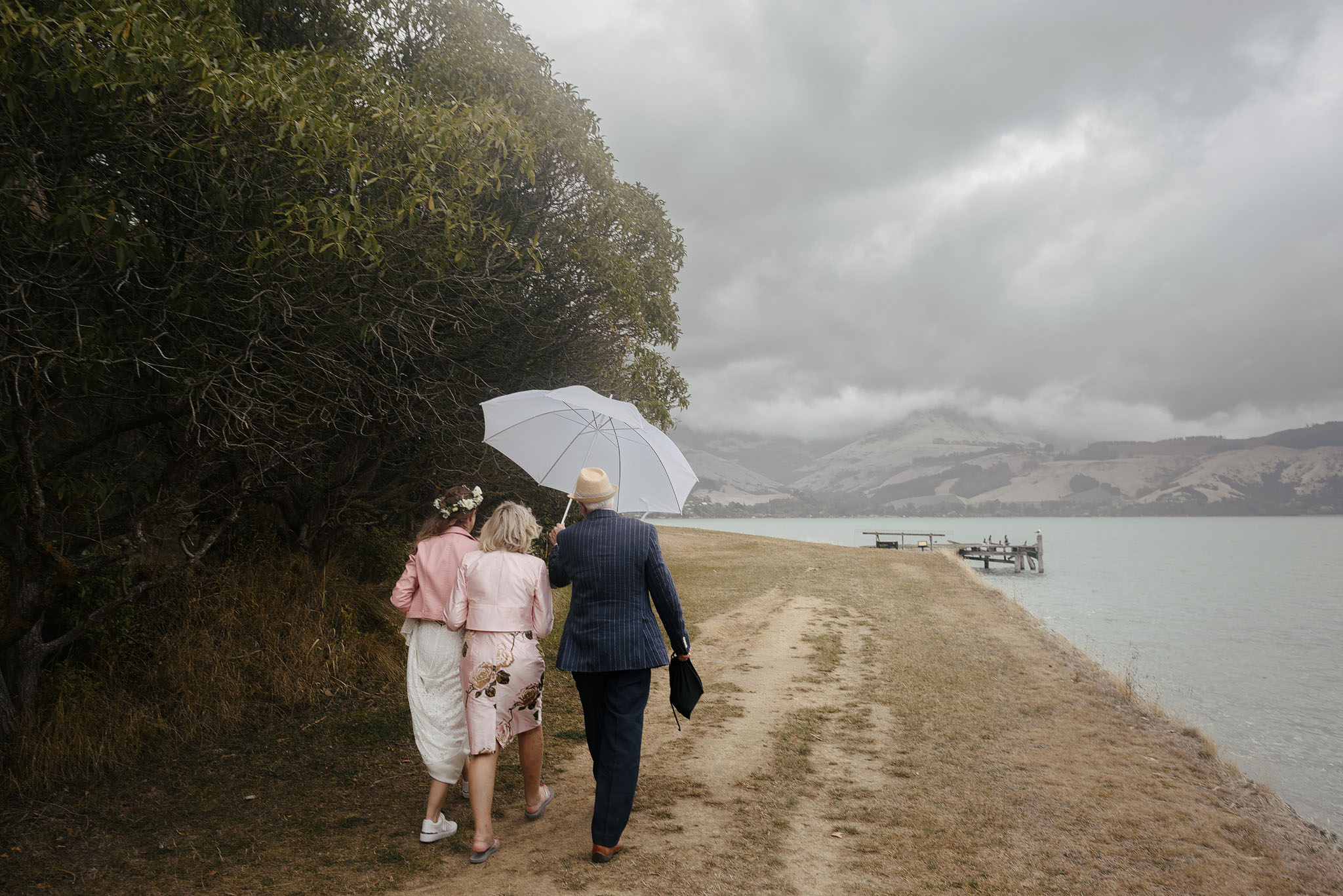 Stormy skies post wedding - walking back to the ferry