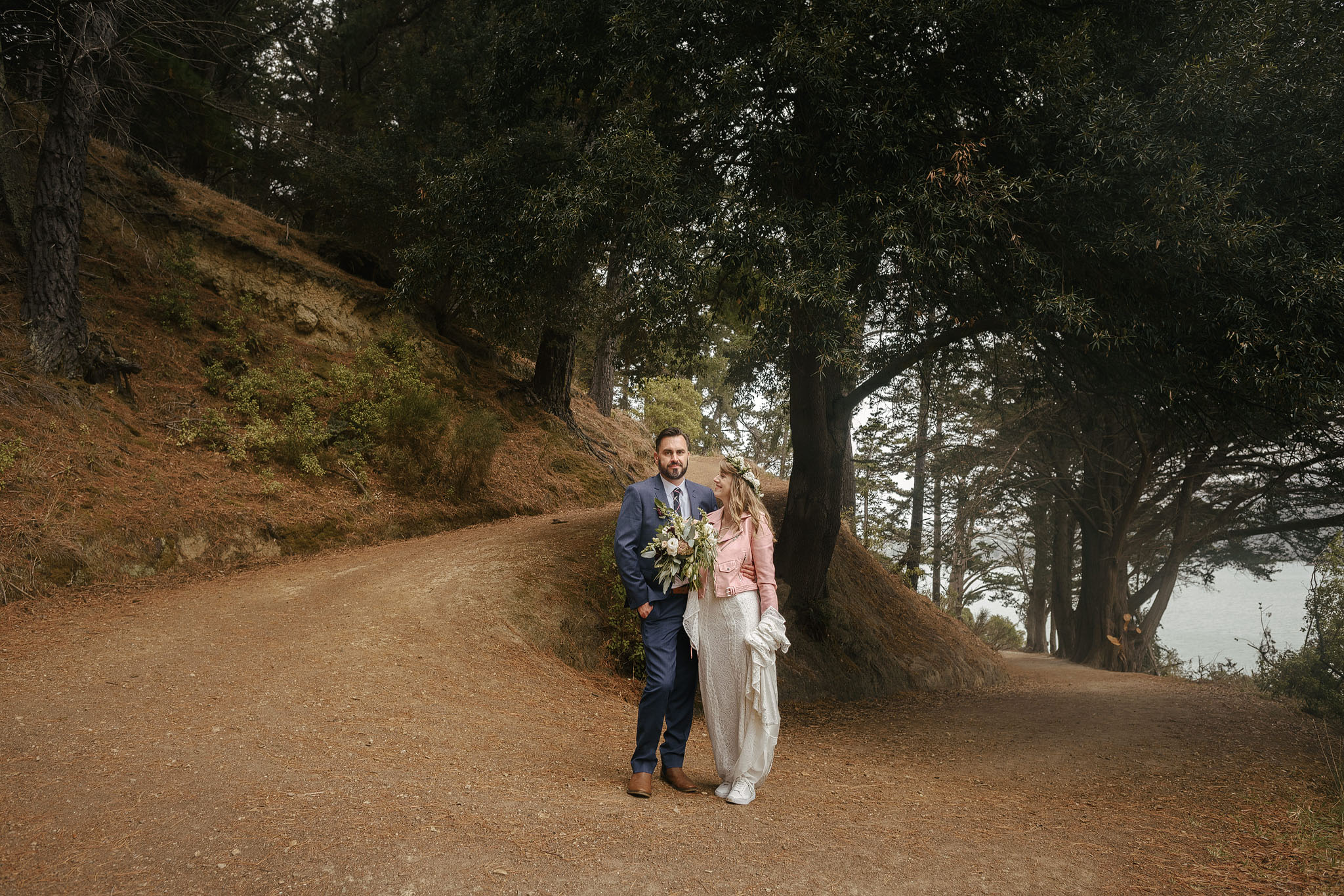 Wedding couple in the forest on Quail Island - outside Christchurch