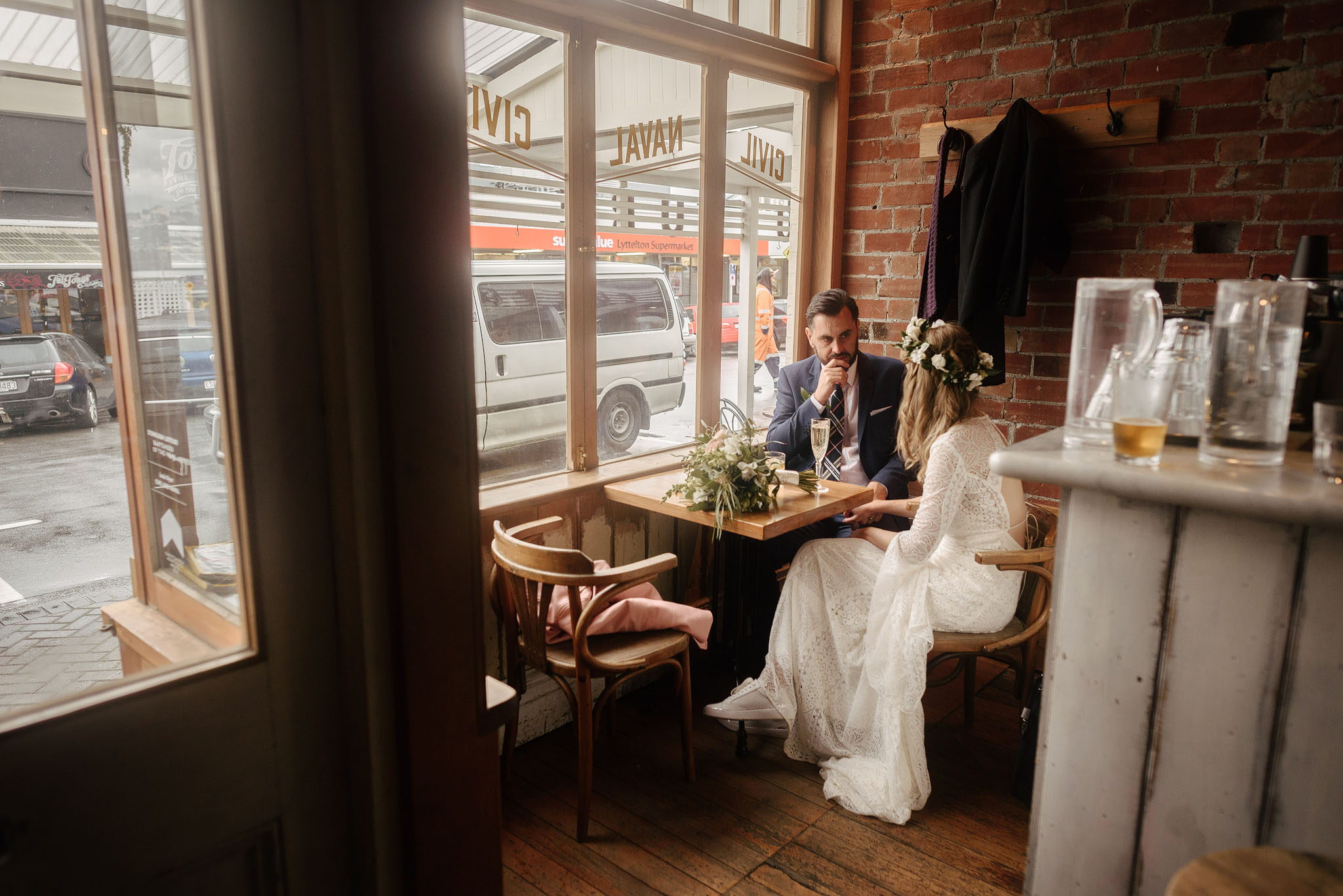 Bride and groom at Civil and Naval in Lyttelton