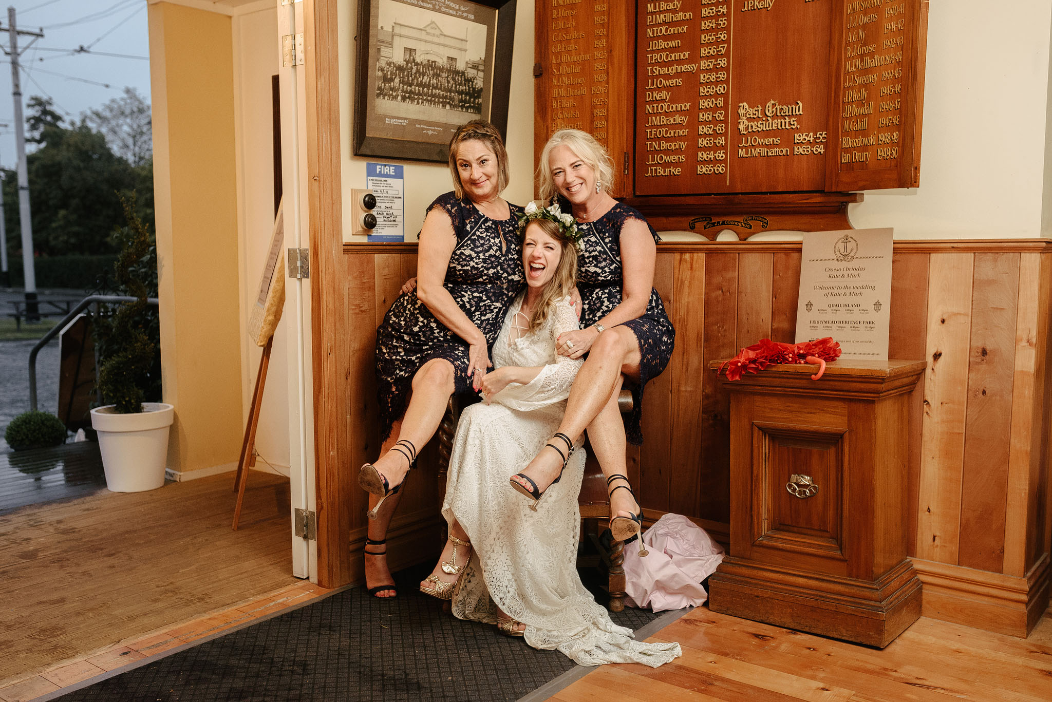 Bride and bridesmaids at Ferrymead Historic Societies Hall