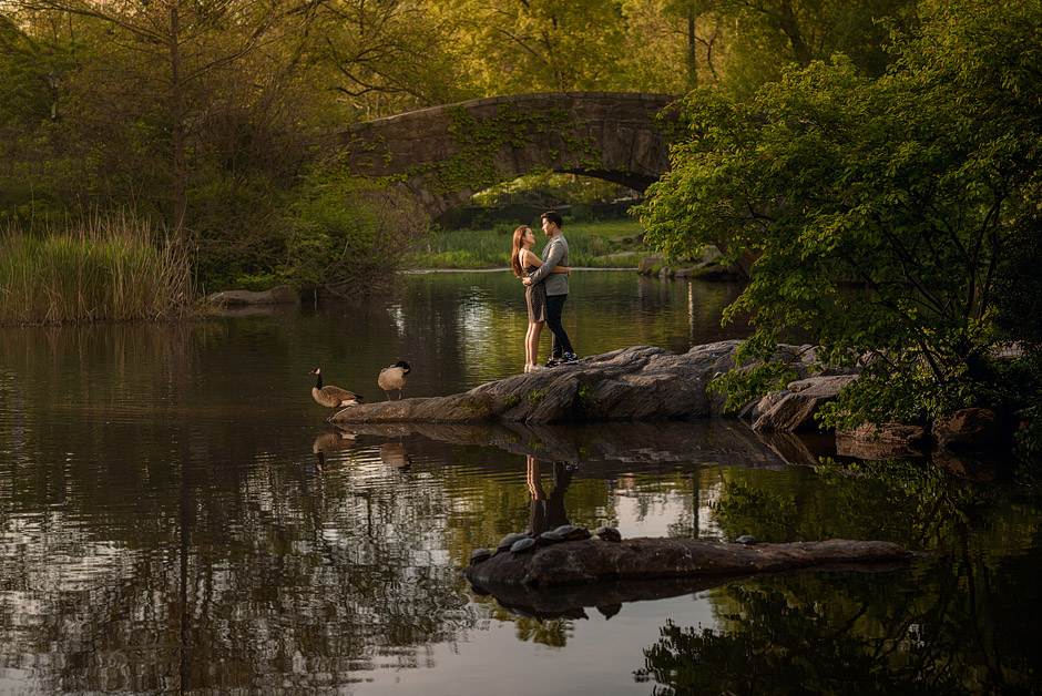 Central Park lake post-wedding couple photo