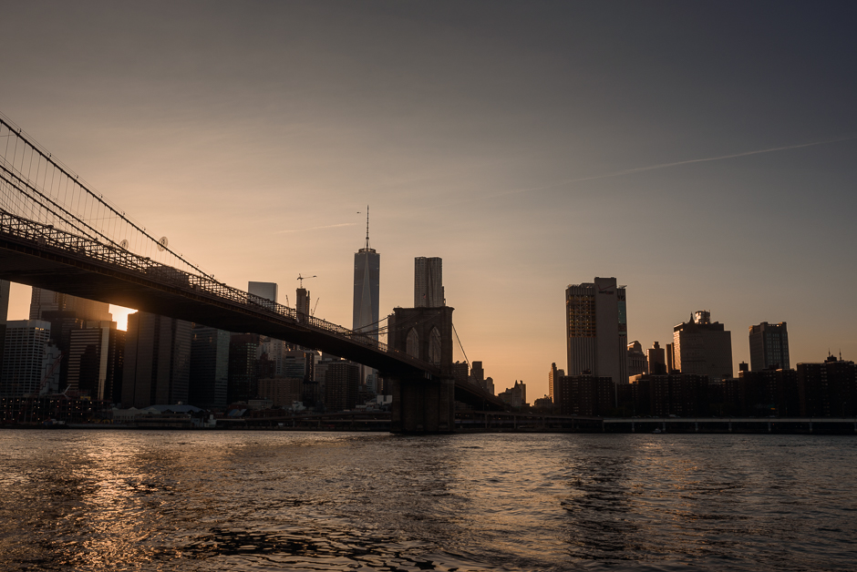 Manhattan seen from Dumbo Brooklyn at sunset in New York