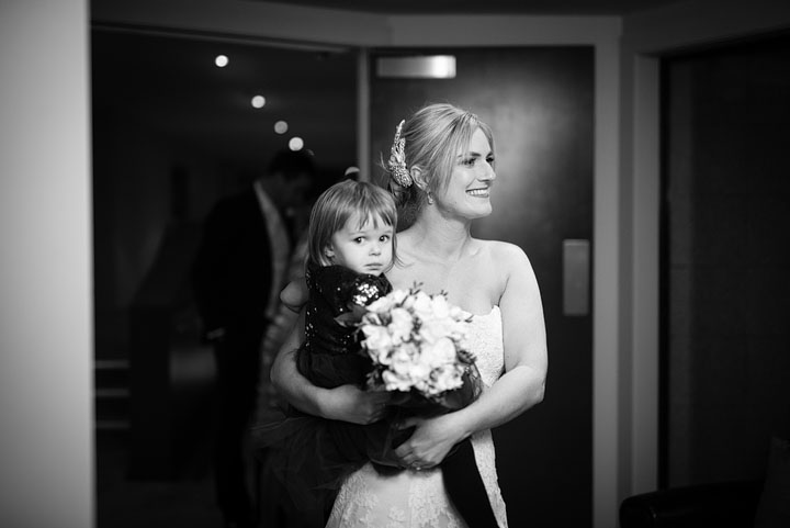 Reception with flower girl