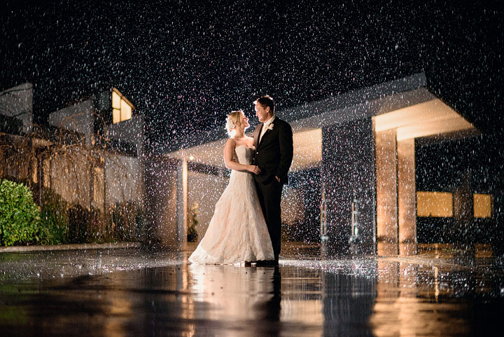Hanmer Springs rainy wedding flash photo taken in winter