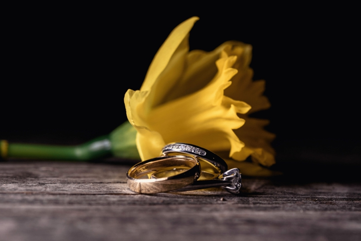 Daffodil and wedding rings