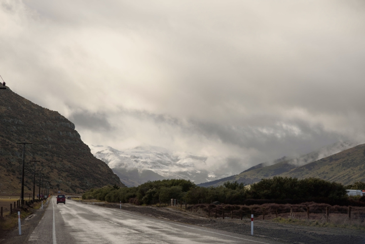 Landscape photo of snowfall above Akaroa