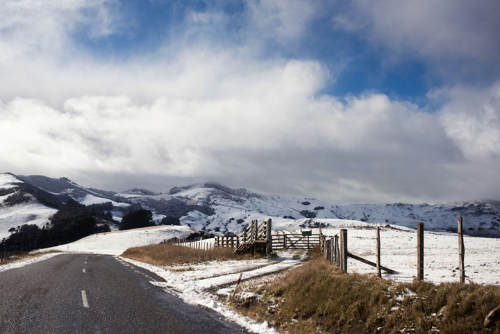 Landcape photo of snowfall above Akaroa