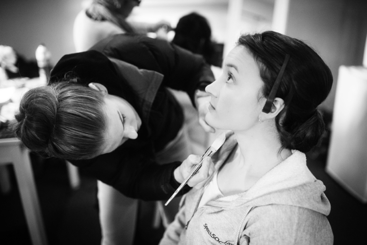 Black and white photo of makeup being applied