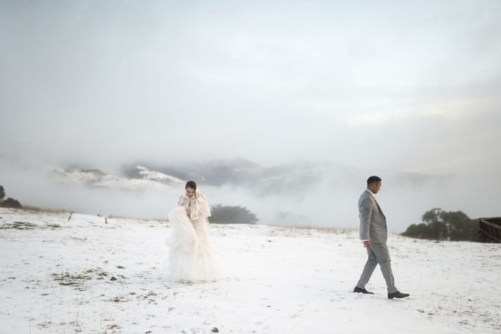 Wedding photos in the snow in Akaroa in winter - Christchurch New Zealand