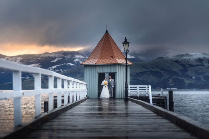 Akaroa dock wedding portraits