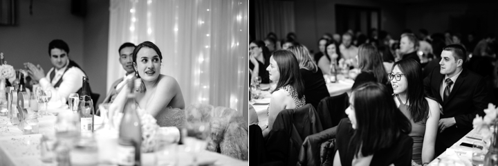 Black and white candids at wedding reception