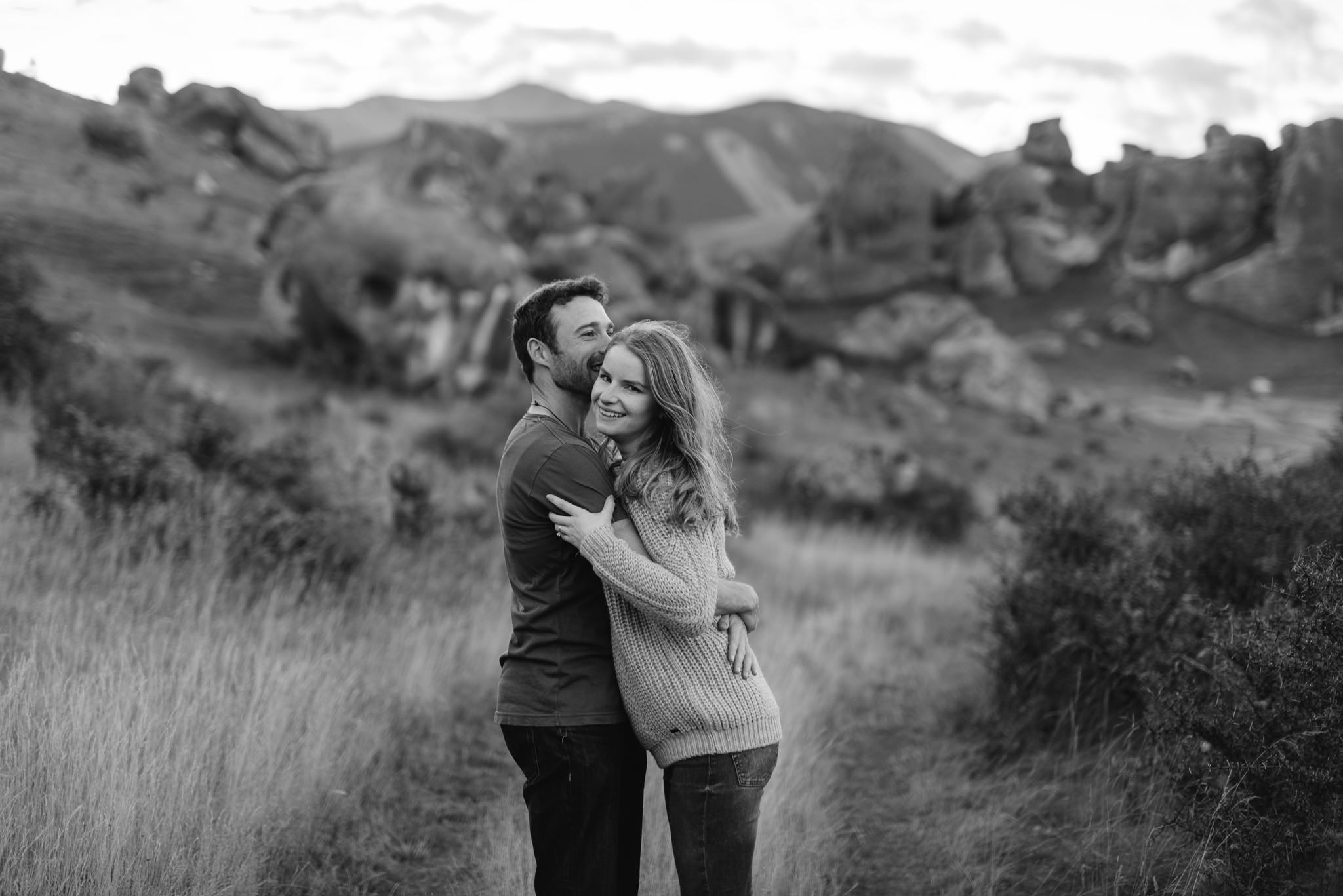 Black and white Castle Hill engagement or pre-wedding shoot