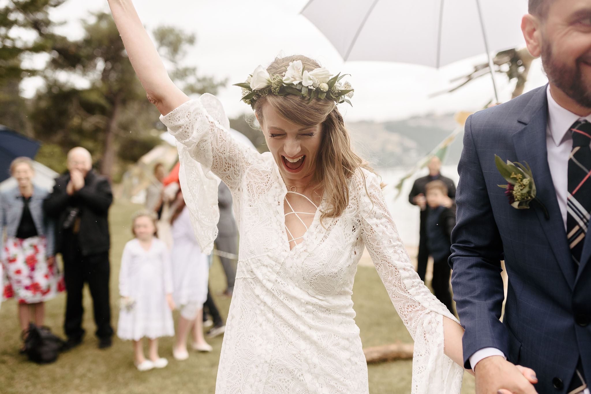 Happy bride, post ceremony on Quail Island