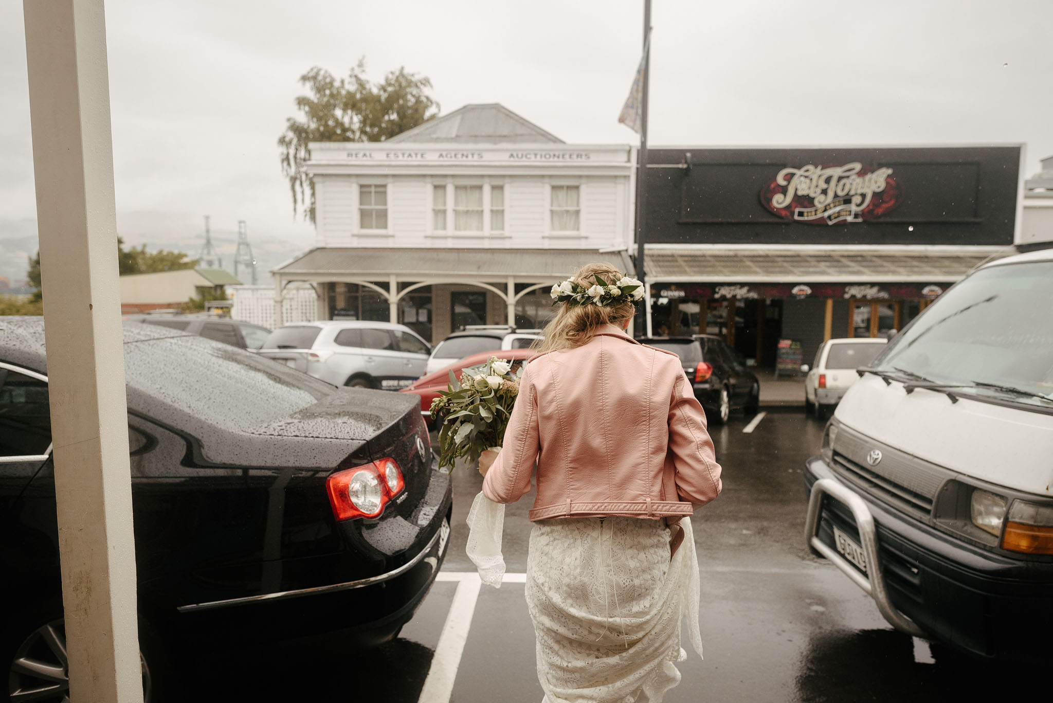 Rainy wedding in Lyttelton