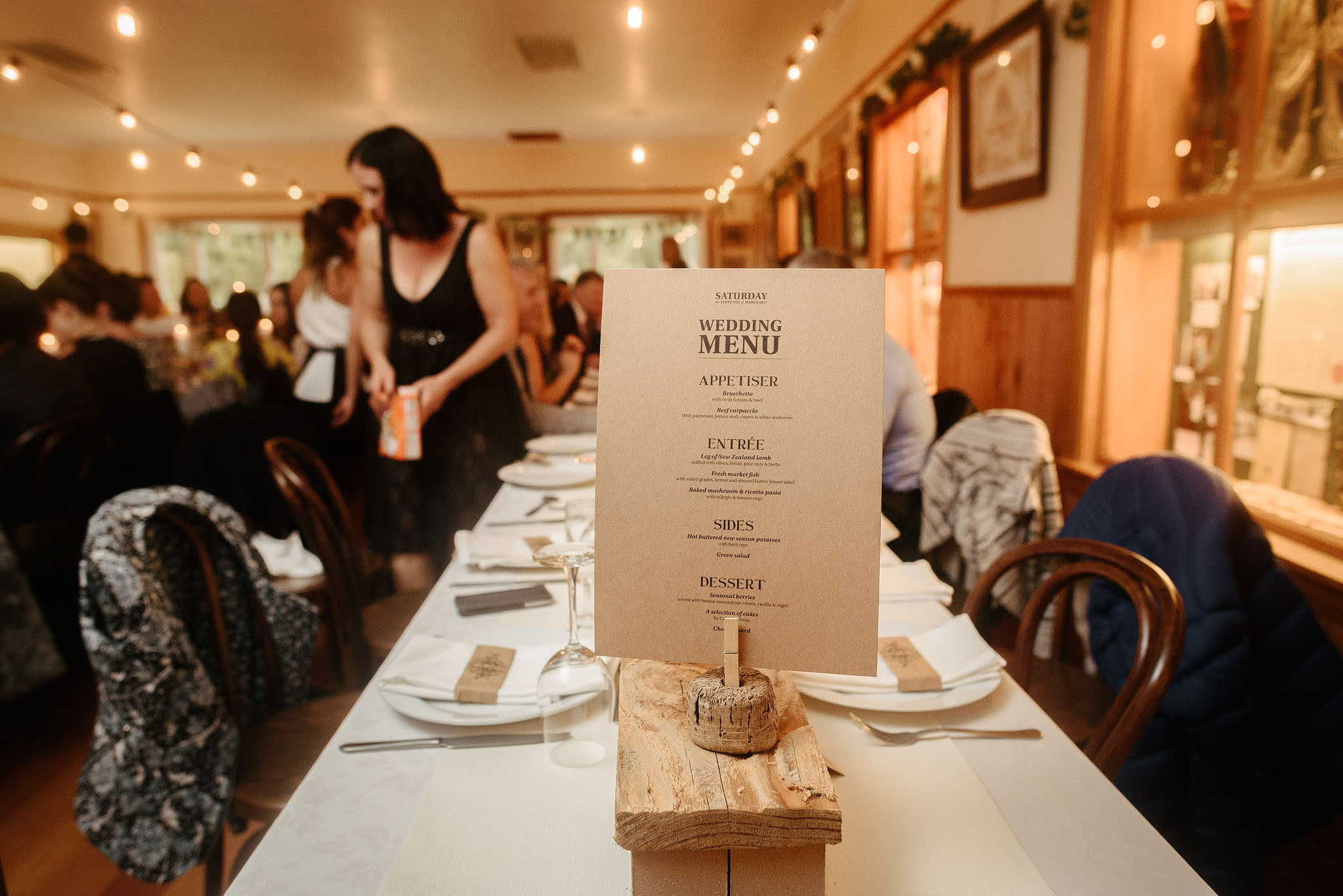Menus at Ferrymead Historic Societies Hall