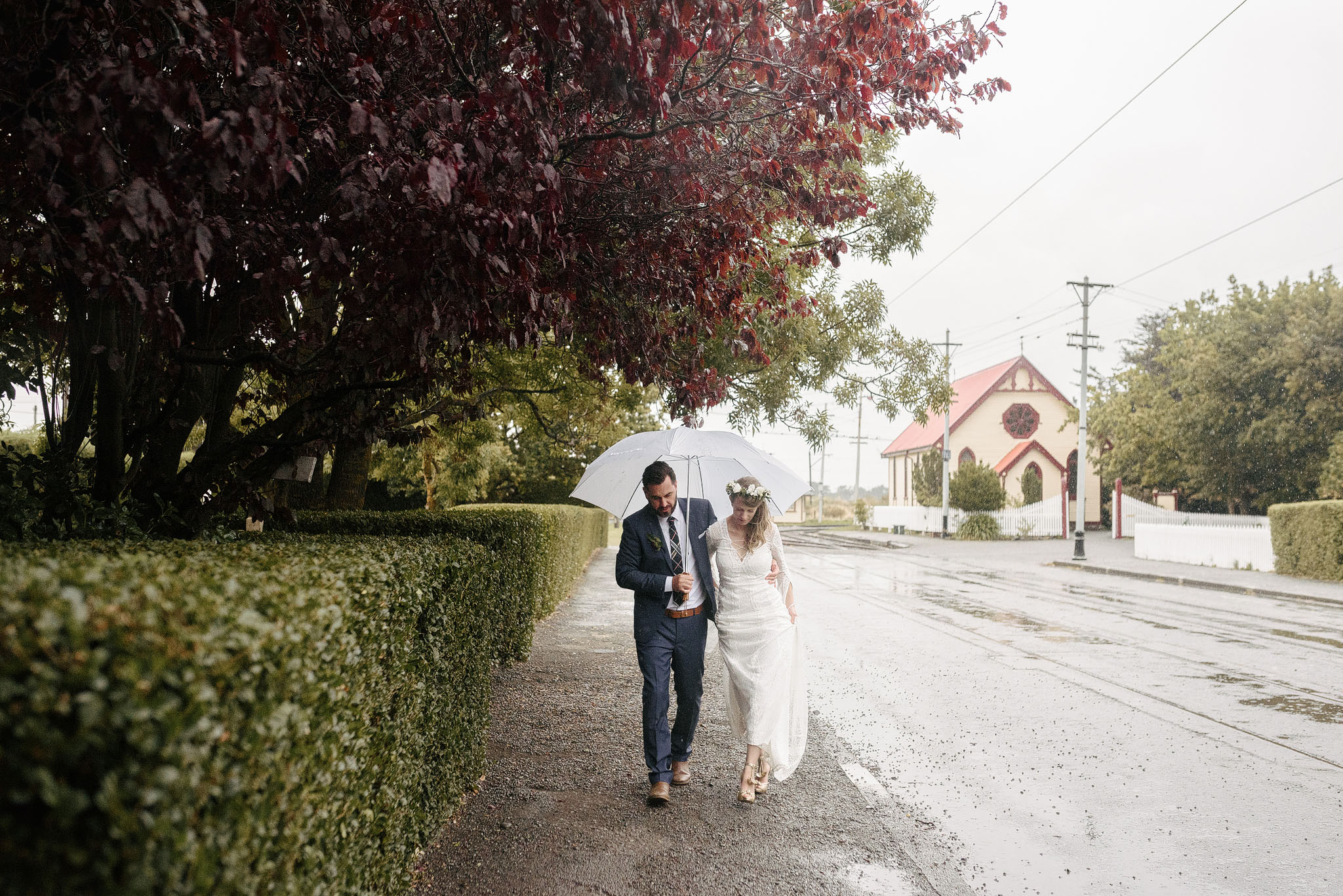 Rainy wedding at Ferrymead