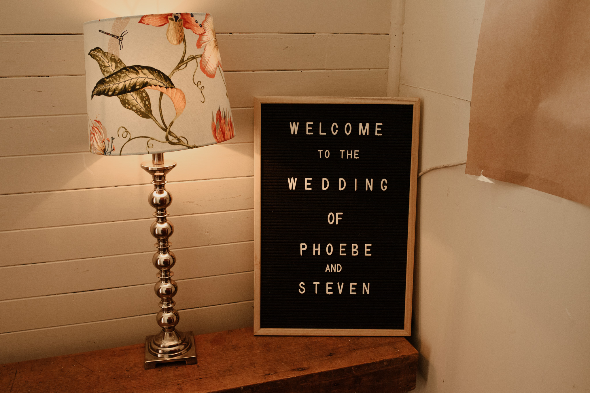 Welcome sign at Ohoka Hall wedding